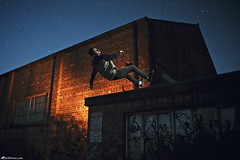 Goodbye Gravity V (Rick Nunn) Tags: windows boy people building male brick fall stars fly sam flash rick drain jeans gravity jacket hood concept float nunn derelict deadly newbalance levitate strobist canonef28mmf18usm stockcategories