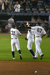 Yankee Players High Five each other after Champion Win (Photo Rusch) Tags: new york red game home field boston wednesday other al high baseball stadium five sox champion victory east american finish after win players yankee yankees 142 each league advantage settle clinch playoff yankeestadiumscoreboard