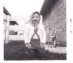 Me, a long, long, long, long time ago (MomOfJasAndTam) Tags: blackandwhite bw me smiling happy child andrea scan scanned 1957 wayback waybacksunday notquitetwoyearsold