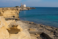 Favignana (vanto5) Tags: travel blue sea italy panorama lighthouse beach water landscape europe italia mare sicily canoneos350d favignana isoleegadi canonef24105mmf4lisusm mygearandme