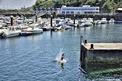 Clavado. (Howard P. Kepa) Tags: paisvasco euskadi zierbana puertodezierbana marcantabrico barcos espigon salto clavado