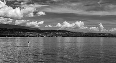 Paddle Suisse (Alexis Cayot) Tags: cayot eau blanc water canon noir 5d suisse eos monochrome paddle lac ef alexis leman markii yvoire panoramique pano