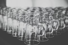 Cup Army (htekmo) Tags: leader order rows cups upsidedown table bw glasses cup