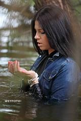 Wetlook in Jacket and Skinny Blue Jeans #267 (Wetlook with WetFoto.com) Tags: wetlook wetfoto wetgirl brunette wethair getwet swimming fullyclothed skinnybluejeans jacket tights heeledboots lake