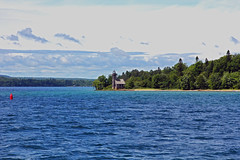 Grand Island East Channel (Jan Nagalski) Tags: blue green water lake channel bay lakesuperior eastchannel grandisland munisingbay lighthouse michigan upperpeninsula jannagalski jannagal landscape seascape shoreline shore forest beautiful scenery scenic red buoy marker