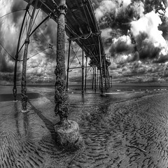 Saltburn Pier (Baz 3112) Tags: foranyonewhosinterested 500px hdr hdrcollection hdrgallery hdrphoto hdrphotography blackandwhite blackwhite beach pier fisheye perspective sky skyporn skyline