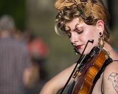 Faith - 2 (Alastair 2008) Tags: fiddle female street entertainer bow piercing strap blacktop