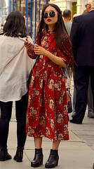 The Woman In Red (Vide Cor Meum Images) Tags: mac010665yahoocouk markcoleman markandrewcoleman videcormeumimages vide cor meum nikon d750 red woman asian bath somerset dress thewomaninred candid street streetphotography willywonka genewilder sunglasses