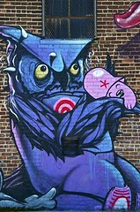 A owl on drugs (codedtestament777) Tags: citysights5 graffiti art beautiful love life design surreal text bright sign painting writing nature crazy weird fabulous environment cartoon animation outdoor street photo border photoborder illustration collection portrait face expression character