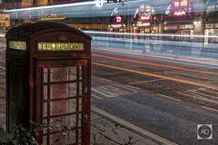 Last orders old friend. (alun.disley@ntlworld.com) Tags: liverpoolstreetscene nightphotography longexposure lighttrails traffic bus publichouse publictelephone road street merseyside england uk nightlights