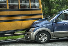 Look Up (playjust) Tags: blue bluecar schoolbus yellow