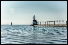 Classic Lighthouse and Pier (JB_Atlanta) Tags: alternateprocessing architecture geometric indiana lakeshore michigancityindiana summer michigancity unitedstates