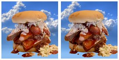 Heaven in Tulsa (sleightman 3D) Tags: allrightsreserved copyrightcarlwilson crosseye crossview stereoview stereo stereoscopic stereogram sleightman stereoscope stereocard bbq pork brisket turkey sausage coleslaw sauce burger bun sandwhich huge big tasty filling appetizing meal food depth tulsa oklahoma