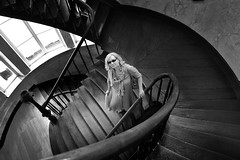 Swirly end of summer (Philip Van Ootegem) Tags: blackandwhite monochrome spiral staircase swirly woman