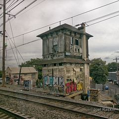 Railroad Tower (Joel Raskin) Tags: railroad tower railroadtower abandoned graffiti amtrak neregional catenarywires tracks fromthetrain thruthewindow square 11 philadelphia frankford