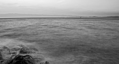 Sunset B&W (phrase!) Tags: ocean travel sunset sea summer bw lighthouse white 3 canada black water monochrome rock vancouver de island aperture nikon long exposure juan pacific horizon rocky columbia victoria adventure le shore british nikkor strait vr dx fuca 18105mm d7000