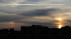 Sun dog sunset 3 Sep 2012 (Sculptor Lil) Tags: sunset sun london pillar sundog atmosphericoptics