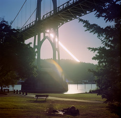 Measuring our days as they pass.  August 31st, 2012.  6:11 - 7:19 pm. (Zeb Andrews) Tags: bridge sunset selfportrait film oregon square portland hasselblad pdx sjb stjohnsbridge cathedralpark picnicinthepark suntrail hasselblad500c bluemooncamera youfigureouttherest