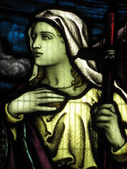 Detail of a Stained Glass Window in the St Peter the Mariner Chapel; the Mission to Seamen - Flinders Street, Melbourne (raaen99) Tags: blue red woman detail building green church window yellow architecture lady female club hotel inn memorial purple cross harbour interior lodging religion sailors australia melbourne chapel courtyard victoria historical recreation nautical 1910s shelter 20thcentury stainedglasswindow edwardian flindersstreet 30s 1917 1900s 1930 flindersst anglicanchurch welfare 1916 moh leadlight seamen placeofworship spanishmission seafarer churchwindows satinedglass twentiethcentury melbournearchitecture anglicanchapel spanishmissionstyle leadlightglass edwardiana spanishmissionarchitecture inmemorandum walterbutler missiontoseamen melbourneopenhouse hostlery architecturallydesigned openhouse2012 moh2012 melbourneopenhouse2012 missiontoseamenbuildings stpeterthemarinerchapel harbourlightsguild ladiesharbourlightsguild ethelaugustagodfrey