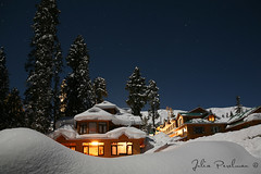 * (Julia Perelman) Tags: travel trees winter sky india house snow mountains tree night forest stars landscape evening asia village kashmir spruces