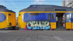 Neem vaker de trein! :) (Akbar Sim (too busy)) Tags: streetart holland netherlands station train graffiti ns nederland denhaag cs thehague trein paintedtrains oshie akbarsimonse akbarsim