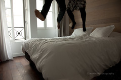 How To Celebrate Your 3 Months Wedding Anniversary! (ClaudiaJR) Tags: paris feet fun hotel jump bed