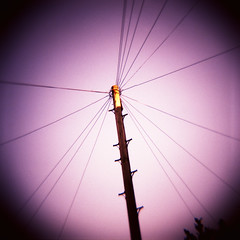 Telegraph Pole (Saturated Imagery) Tags: pink red 120 circle square xpro crossprocessed wire saturated toycamera slidefilm dianaf telegraphpole vignette meanwood fujichromevelvia100