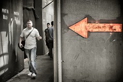 walk this way (bytegirl24) Tags: street nyc newyorkcity men construction manhattan sidewalk postnobills arrow selectivecolorization selectcolor