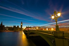 Westminster, London (Stephen Walford Photography) Tags: street city uk travel bridge blue light sunset england sky urban cloud motion blur london westminster thames architecture night exposure dusk sigma bigben 7d 1020mm lpcrepuscular