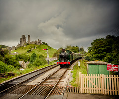 Rainy day on the Swanage Steam Railway (s0ulsurfing) Tags: uk light summer england panorama sunlight green castle english history clouds rural train canon countryside britain railway august panoramic tourists steam dorset gb fields british corfe swanage purbeck 2012 stratocumulus corfecastle isleofpurbeck s0ulsurfing vertorama jasonswain theswanagerailway