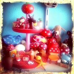 Strawberry cuteness tray on my desk shelf (Miss Thundercat) Tags: cute mushroom square colorful desk shelf littleredridinghood squareformat kawaii hudson crafty decole otogicco iphoneography instagramapp uploaded:by=instagram