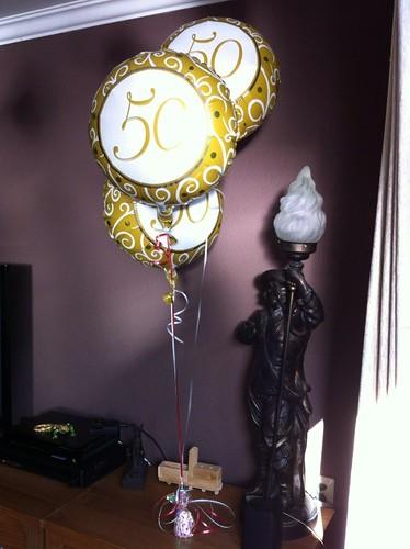Tafeldecoratie 3ballonnen Folie 50 Jaar