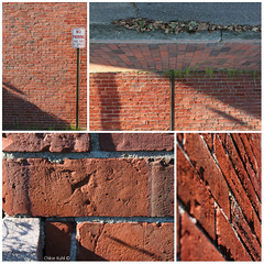 Brick Collage (Blackcatatheart) Tags: street shadow sunlight france brick art texture lines sign collage view no parking bricks perspective pole reversed colab lattitude colaberation