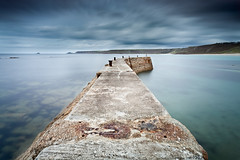 Walk away (theloneman) Tags: uk longexposure blue nature water lines misty canon landscape outdoors pier movement cornwall moody harbour turquoise wide perspective blurred ethereal nd vista coastline dreamy lonely viewpoint 1740mm minimalist sennencove ndfilter neutraldensity ndgrad 10stop leefilters canon5dmkii 5dmkii leebigstopper
