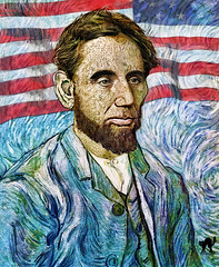 Abraham Lincoln by Van Gogh (The PIX-JOCKEY (visual artist)) Tags: portrait usa celebrity art history photoshop painting joke flag president vip lincoln photomontage chop draw past worth1000 vangogh fotomontaggi ameica abrahamlicoln robertorizzato pixjockey humourfake