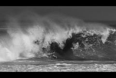 Good luck... (Atekaba) Tags: ocean blackandwhite france nikon surf noiretblanc fat sigma wave hossegor nb session vague 70200 f28 gros bodyboard morey shorebreak landes biscotte aquitaine d90