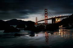 The Golden Gate Bridge - Night Falls (Andrew Louie Photography) Tags: california bridge beach coffee night canon reflections photography golden gate san francisco peace joy jazz jazzy jazzba jazzamore