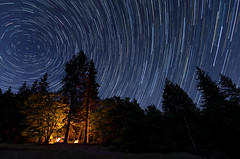 Campfire Star Trails (andreaskoeberl) Tags: california longexposure camping tree silhouette northerncalifornia night forest dark stars fire lowlight nikon outdoor hiking wideangle illuminated nationalforest campfire backpacking rotation mendocino startrails mendocinonationalforest d7000 tokina1116f28 snowmountainwilderness nikond7000 andreaskoeberl