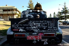 Tattoo Hot rod 3 Slogan Tailgate (Seaside-Mike) Tags: classic car skulls skull pentax stickers australia retro cruisin surfboard hotrod adelaide 50s southaustralia cruiser v8 slogans semaphore feral beachside sema4 sea2side