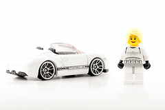 Barb with their new car (photography.andreas) Tags: auto white cars scale girl car toy miniature starwars lego background spyder whitebackground porsche hotwheels blonde 164 minifig boxster onwhite weiss mattel modelcar diecast productphotography produktfotografie 2012hotwheels v5314