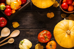 Autumn nature concept. Pumpkins and tomatoes on dark wooden table. (azimavu) Tags: pumpkin autumn thanksgiving halloween food background fall organic seasonal vegetable season squash wooden wood tasty harvest yellow natural fresh orange agriculture delicious ingredient healthy colorful space copy rustic assortment tomato dark bowl box vegetables table design nature white collection old red country rural art leaf