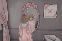 In Front of the Mirror (Minh Noble) Tags: pastel gothic second life mirror roses halogen magic halfdeer pink tram amitomo vco