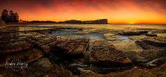 Sunrise at Avalon Beach Panorama (Simon Pratley) Tags: amanacer australia avalonbeach beach canon clouds coast costa gold golden goldenhour landscape leefilters longexposure northernbeaches nubes ocean orange outdoor panorama panoramic playa rocks seascape serene simonpratleyphotography sky sunrise surf sydney water waves yellow elmar lacosta