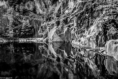 Reflecting Black! (dazzbo1) Tags: quarry lakes lake district cumbria rocks cave tunnels black spooky deep crane mine slate atmospheric diving climbing refection tree hodge