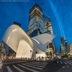 WTC Transportation Hub and Tribute in Light - 9/10/16 (DSC08891) (Michael.Lee.Pics.NYC) Tags: newyork wtc worldtradecenter calatrava transportationhub greenwichstreet architecture cityscape night twilight bluehour square tributeinlight 2016 sony a7rm2 rokinon12mmf28 fisheye