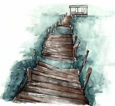 The Bay (La Len) Tags: watercolour landscape brigde monochrome sadness