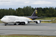 UPS, Boeing 747-45EMBCF, N579UP. (M. Leith Photography) Tags: lining up runway 15 anchorage ted stevens international airport alaska 29th july 2016 ups boeing74745embcf n579up usa american boeing 747 jumbo plane aviation travel markleithphotography cargo freighter 70200vrii nikon d7000 nikkor