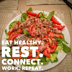 #eat well. #rest #connect with people. Don't get socially isolated. #work your a** off. Direct all your energy what #matters to you. #sleep well. #exercise #repeat (povilasbrand) Tags: instagram povilasbrand quoteoftheday quotes quote realifequotes inspire goodvibes motivation positivity repost keepgoing getit stayfocused