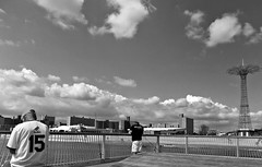 The Ocean Below (Robert S. Photography) Tags: boardwalk pier gate men hats tshirts lookingdown ocean beach fishing summer parachutejump bw coneyisland brooklyn newyork nikon coolpix portrait l340 iso80 september 2016