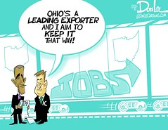 0916 ohio export cartoon (DSL art and photos) Tags: editorialcartoon donlee pettypolitics johnkasich barackobama jobs transpacificpartnership ohio exports economy